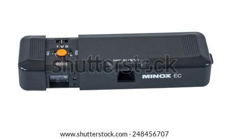 SAMARA, RUSSIA - NOVEMBER 8, 2014: Minox EC subminiature camera isolated on the white background - stock photo