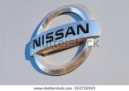 SAMARA, RUSSIA - NOVEMBER 24, 2014: Nissan dealership sign. Nissan is a Japanese multinational automaker - stock photo