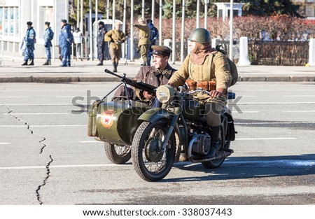 SAMARA, RUSSIA - NOVEMBER 7, 2015: Reenactment of the battle near Moscow in 1941 at the Kuibyshev square - stock photo