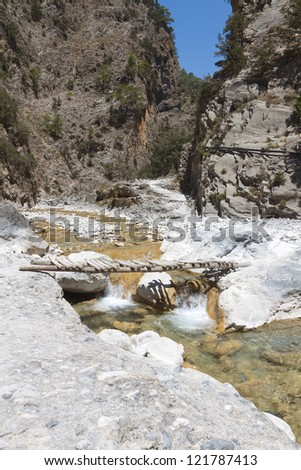 Samaria gorge at Crete island in Greece - stock photo