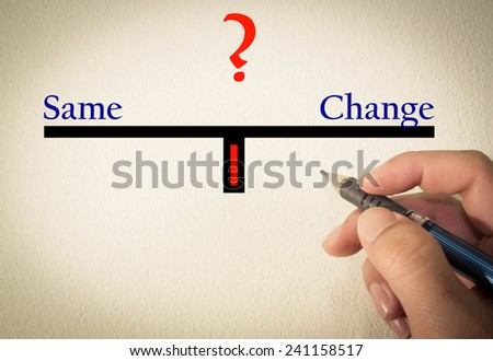 Same and change text concept write on wall  - stock photo