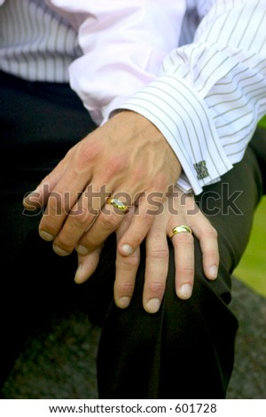 same-sex marriage - gay men just married - stock photo