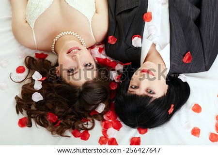Same-sex marriage. Top view of happy couple - stock photo