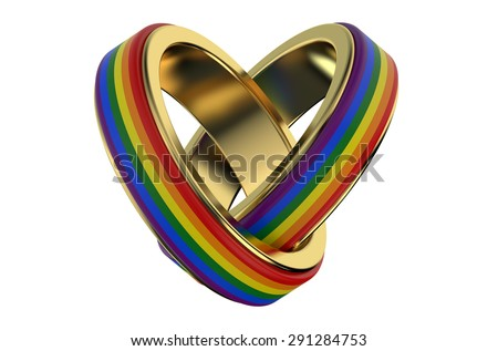 same-sex marriages �oncept with rainbow rings - stock photo