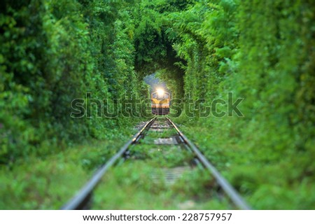 Same Train running in Natural tunnel of love formed by trees. in kanjanaburi,Thailand - stock photo
