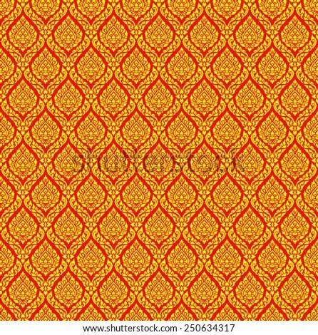 sameless golden Thai traditional art pattern on red background - stock photo