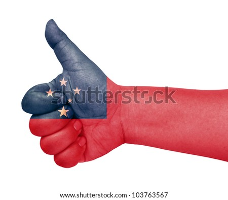 Samoa flag on thumb up gesture like icon on white background - stock photo