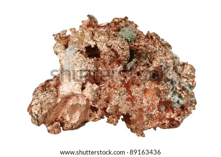 Sample copper on white background - stock photo