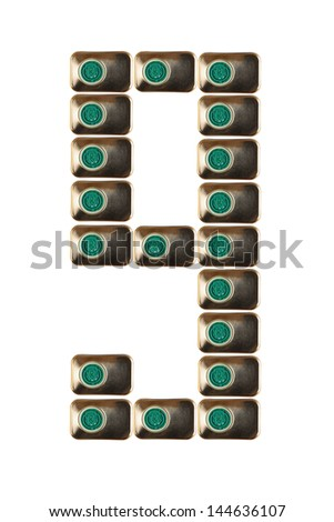 Sample nine numbers of metal on a white background closeup - stock photo