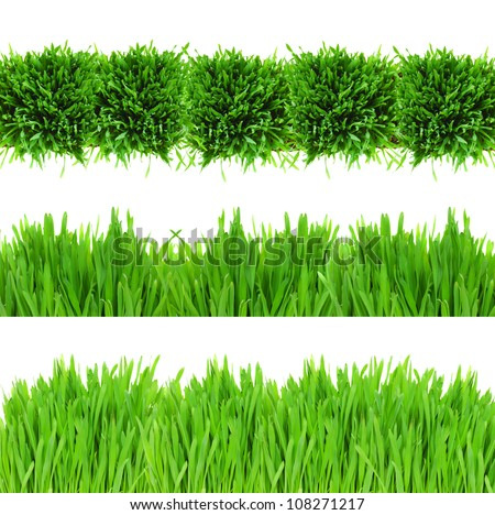 sample of green grass borders isolated on white background - stock photo