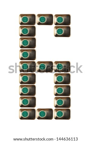 Sample six numbers of metal on a white background closeup - stock photo