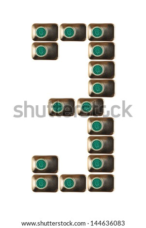 Sample three numbers of metal on a white background closeup - stock photo