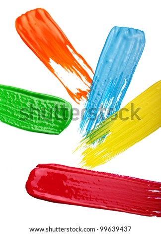Samples of colorful paint over white background - stock photo