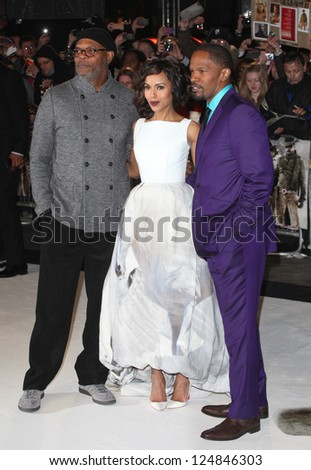 Samuel L Jackson, Kerry Washington and Jamie Foxx arriving for the Django Unchained Premiere, at Empire Leicester Square, London. 10/01/2013 Picture by: Alexandra Glen - stock photo