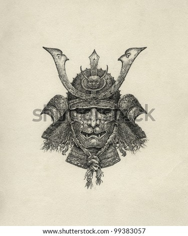 Samurai helmet - stock photo