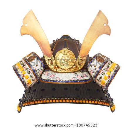 Samurai Helmet isolated on wood background - stock photo