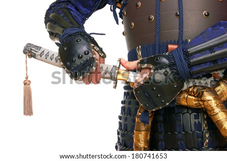 Samurai in armor, isolated on white background - stock photo