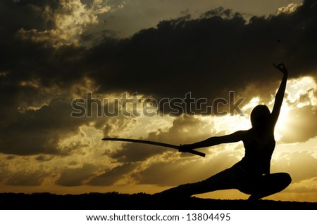 samurai is drilled on sundown - stock photo