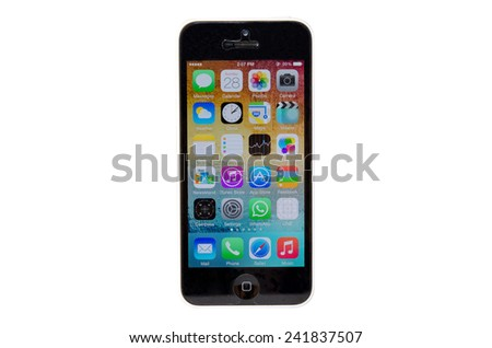 SAMUTPRAKAN, THAILAND - December 28, 2014:iPhone 5 C isolated on white background. Apple IPhone is one of the most popular smart phones in the world. - stock photo