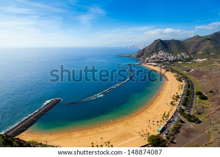 San Andres Village and Las Teresitas Beach, Tenerife  - stock photo