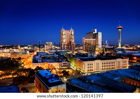 San Antonio downtown just after sunset showing skyline around Tower of the Americas & city lights - stock photo