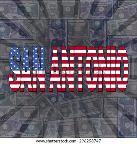 San Antonio flag text on dollars sunburst illustration - stock photo