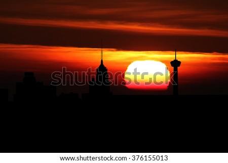 San Antonio skyline at sunset illustration - stock photo