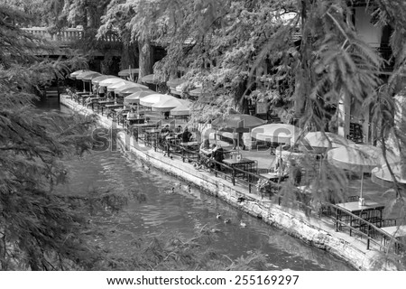 SAN ANTONIO, TEXAS, USA - SEP 29: Section of the famous Riverwalk on September 29, 2014 in San Antonio, Texas. A bustling place with many restaurants and bars. - stock photo