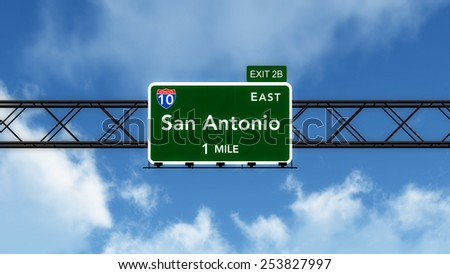 San Antonio USA Interstate Highway Sign 3D Illustration - stock photo