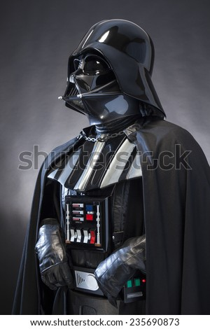 SAN BENEDETTO DEL TRONTO, ITALY. DECEMBER 5, 2014. Photo of a replica of the costume of Darth Vader . Darth Vader or Dart Fener is a fictional character of Star Wars saga - stock photo