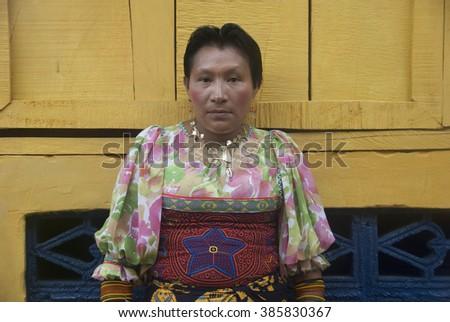 San Blas, Kuna Yala, Panama - October :Kuna woman poses with her traditional costume. October, 2008 in Kuna Yala, Panama. - stock photo