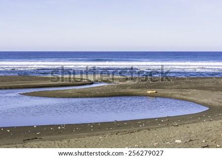 San Carpoforo Creek Beach on the Big Sur Highway (Highway 1) and Coastline. California Central Coast, near Cambria, CA.  - stock photo