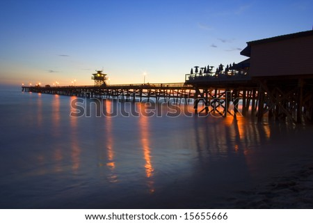 San Clemente pier at sunset - stock photo