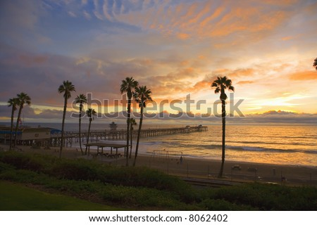 San Clemente Pier at Sunset after a storm in the Winter months. - stock photo