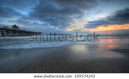 San Clemente Sunset by the pier - stock photo