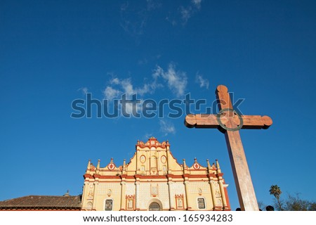 San cristobal Cathedral in Chiapas, Mexico - stock photo