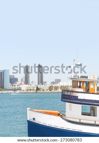 San Diego bay ferry boat. Public transportation to carry people across the water. Plenty of room for text, copy space. Vertical composition.  - stock photo