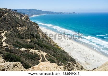 San Diego beach along coastline - Torrey Pines gliderport - stock photo