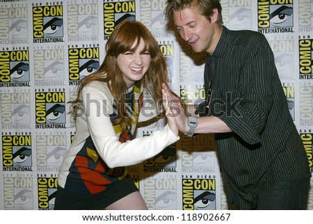 SAN DIEGO, CA - JULY 15: Karen Gillan and Arthur Darvill arrive at the 2012 Comic Con convention press room at the Bayfront Hilton Hotel on Sunday, July 15, 2012 in San Diego, CA. - stock photo
