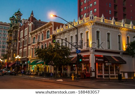 SAN DIEGO, CA - MAY 30 : Nightlife, shops and restaurants on Fifth Avenue in the Gaslamp Quarter Historic District on June 30, 2013, in downtown San Diego, California - stock photo