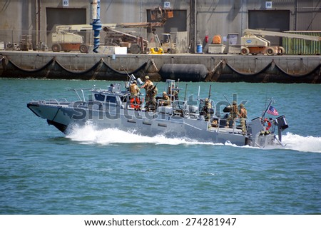 SAN DIEGO CA USA APRIL 09 2015:Naval Base navy guard boat in San Diego, sometimes called 32nd Street Naval Station, is the largest base of the United States Navy on the west coast of the United States - stock photo