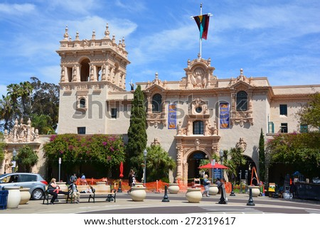 SAN DIEGO CA USA APRIL 8 2015: The Casa Del Balboa in San Diego, California, . Balboa Park is a 1,200-acre urban cultural park in San Diego. - stock photo