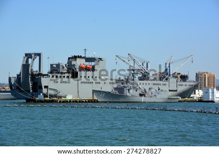 SAN DIEGO CA USA APRIL 09 2015: USNS Bob Hope (T-AKR-300) the lead ship of her class of vehicle cargo ships for Army vehicle prepositioning, is the only naval ship of the US to be named after Bob Hope - stock photo