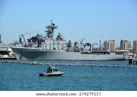 SAN DIEGO CA USA APRIL 09 2015: USS Harpers Ferry (LSD-49) is the lead ship of her class of landing ship dock of the US Navy. This warship was named for the town of Harpers Ferry, West Virginia - stock photo