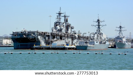 SAN DIEGO CA USA 04 09 2015: The USS Boxer (LHD-4) is a Wasp-class amphibious assault ship of the United States Navy. It is the sixth U.S. Navy ship to bear the name, and was named for the HMS Boxer,  - stock photo