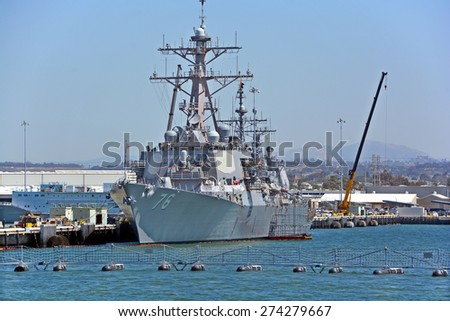 SAN DIEGO CA USA 04 09 2015: USS Higgins (DDG-76) is a Flight I Arleigh Burke-class destroyer in the US Navy. She was commissioned in 1999 and named after William Higgins a US Marine Corps Colonel - stock photo
