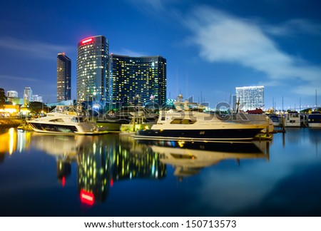 San Diego California at night  - stock photo