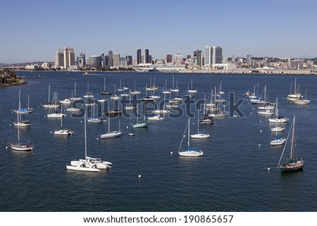 SAN DIEGO, CALIFORNIA - FEB. 12, 2013: A View of Yacht Club and San Diego. San Diego is second-largest city at the Pacific Ocean in California. It is the eighth-largest city in the United States. - stock photo