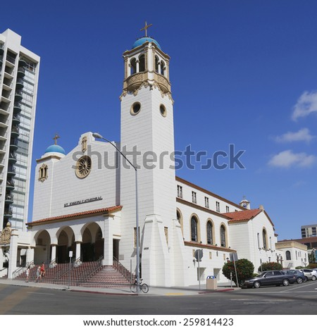 SAN DIEGO, CALIFORNIA - SEPTEMBER 27, 2014 St. Joseph Cathedral in the Cortez Hill neighborhood of downtown San Diego, California. It is the seat of the Diocese of San Diego - stock photo
