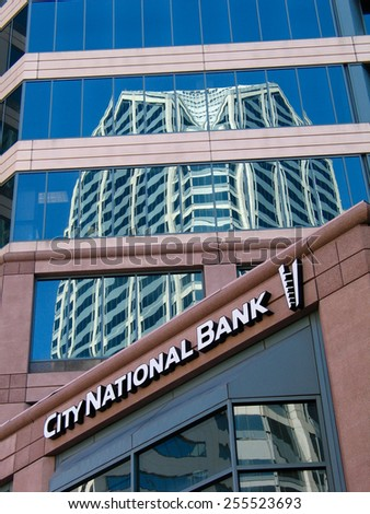 SAN DIEGO, CALIFORNIA, US - MARCH 11, 2007: Exterior of the City National Bank in San Diego California, US on March 11, 2007. On January 2015 was announced its acquisition by Royal Bank of Canada  - stock photo